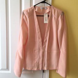 Pink mesh sleeve blazer
